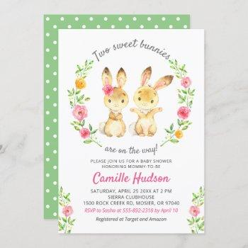 Twin Boy Girl Floral Colorful Bunny Baby Shower