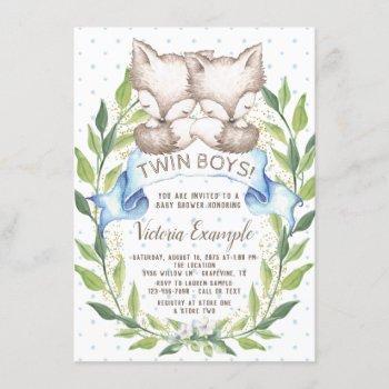 Twin Boy Woodland Fox Baby Shower Invitations