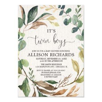 Twin Boys Rustic Outdoor Boy Twins Baby Shower Invitation