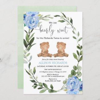 Twin Boys Teddy Bear Green Blue Floral Baby Shower Invitation