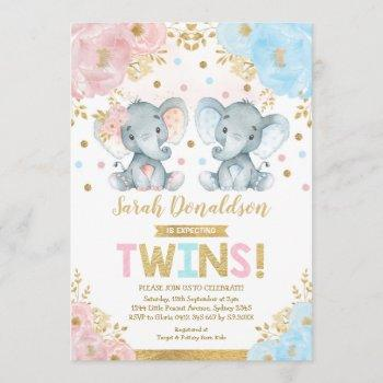 Twin Elephant Baby Shower Boy & Girl Twins Invitation