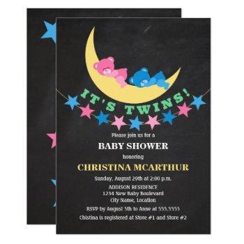 Twin Girl And Boy Teddy Bear Baby Shower Invitation