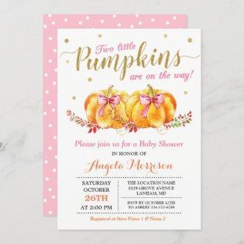 Twin Girl Baby Shower Cute Pink Little Pumpkin Invitation