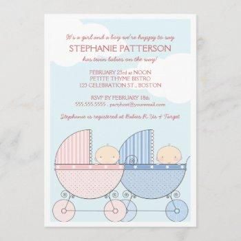 Twin Girl & Boy Carriage Happy Baby Shower