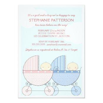 Twin Girl & Boy Carriage Happy Baby Shower Invitation