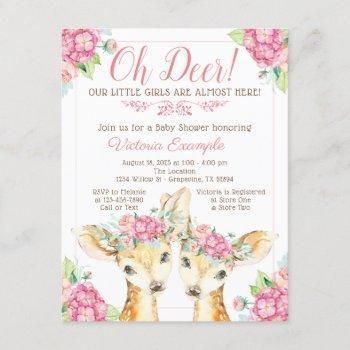 Twin Girl Deer Baby Shower Invitations