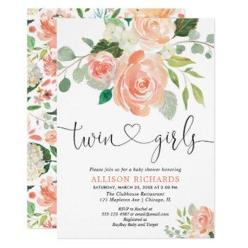 Twin Girls Baby Shower Floral Watercolors Invitation