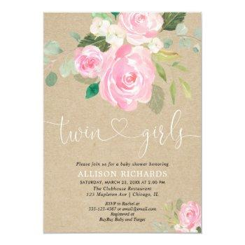 Twin Girls Baby Shower Rustic Blush Pink Floral Invitation