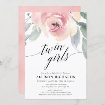 Twin Girls Blush Pink Elegant Floral Watercolor Invitation