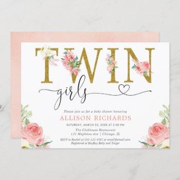 Twin Girls Blush Pink Gold Floral Baby Shower Invitation