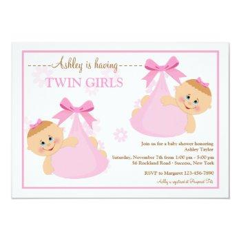 Twin Girls Bundles Baby Shower Invitation