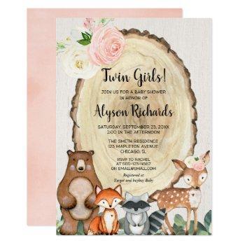 Twin Girls Forest Friends Woodland Baby Shower Invitation