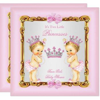 Twin Girls Princess Baby Shower Gold Pink Blonde Invitation