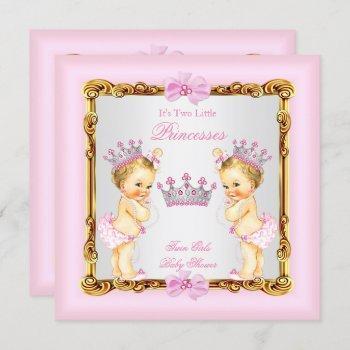 Twin Girls Princess Baby Shower Gold Pink Blonde