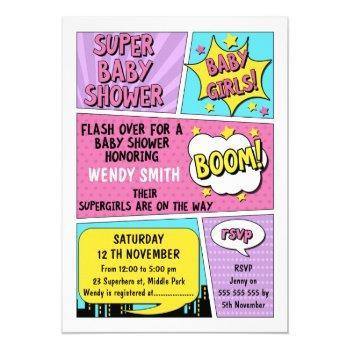 Twin Girls Superhero Baby Shower Invitation