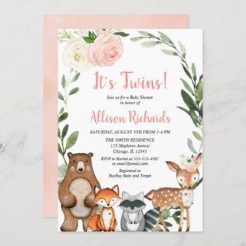 Twin Girls Woodland Animals Greenery Baby Shower Invitation