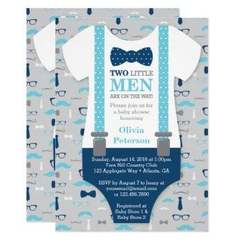 Twin Little Men Baby Shower Invitation, Blue, Gray Invitation