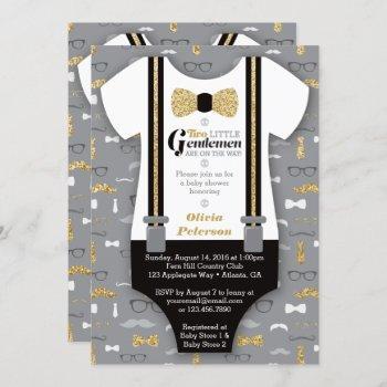 Twin Little Men Baby Shower Invite, Faux Glitter