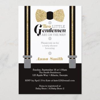 Twin Little Men Baby Shower Invite, Faux Glitter Invitation
