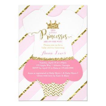 Twin Little Princesses Shower Invite, Faux Glitter Invitation