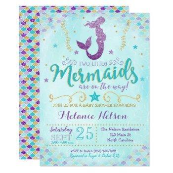 Twin Mermaid Baby Shower Invitation Sprinkle