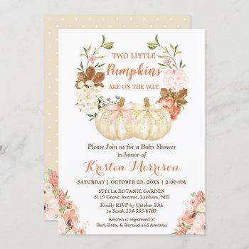 Twin Pumpkin Baby Shower Cute Autumn Floral Invitation