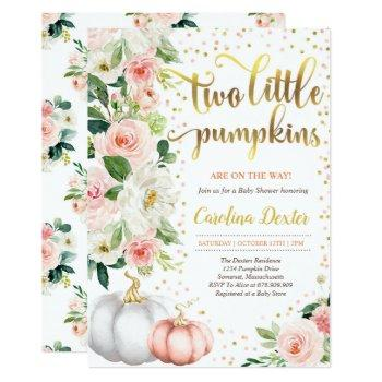 Twin Pumpkin Baby Shower Invitation Pink And Gold