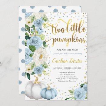 Twin Pumpkin Baby Shower Invitation Twin Boys Fall