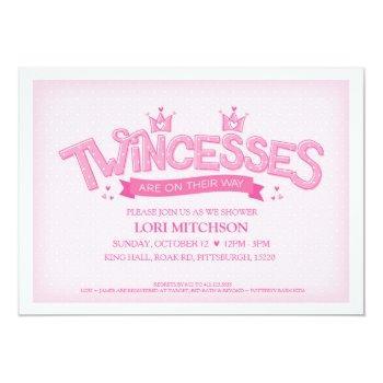 Twincess Twin Girls Baby Shower Invitation (pink)