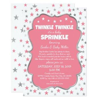 Twinkle Baby Sprinkle Girl Shower Invitations