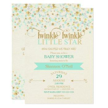 Twinkle Little Star Baby Shower Gold & Mint Invitation