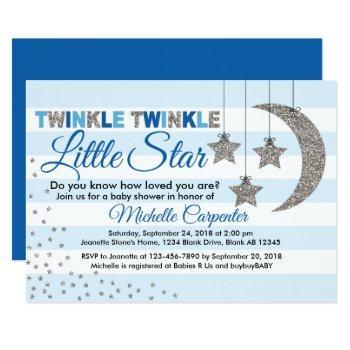 Twinkle Little Star Baby Shower Invitation For Boy