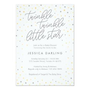 Twinkle Little Star Baby Shower Invitation | Gray