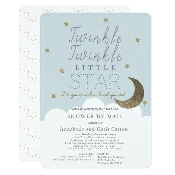 Twinkle Little Star Blue Baby Shower By Mail Invitation