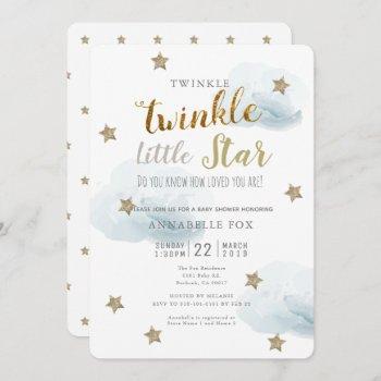 Twinkle Little Star & Cloud Baby Shower Invitation