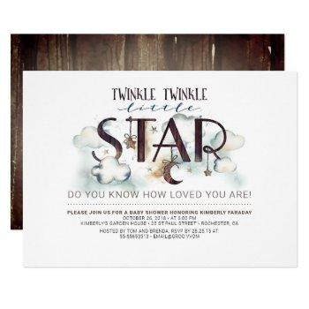 Twinkle Little Star Clouds Baby Shower Invitation