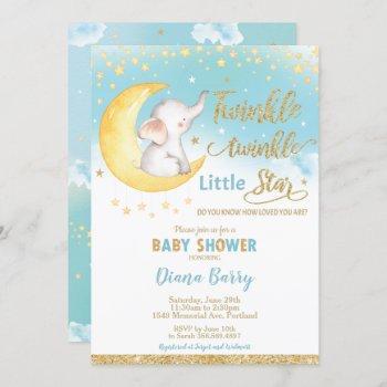 Twinkle Little Star Elephant Baby Shower Boy