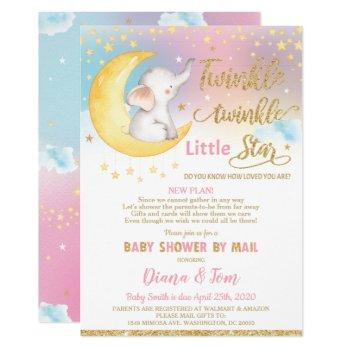 Twinkle Little Star Elephant Baby Shower By Mail Invitation