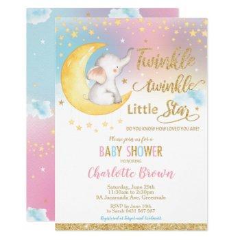 Twinkle Little Star Elephant Baby Shower Girl Boy Invitation