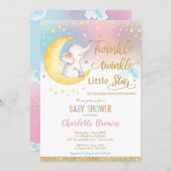 Twinkle Little Star Elephant Baby Shower Girl Boy