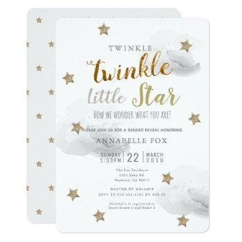 Twinkle Little Star Gender Reveal Baby Shower Invitation