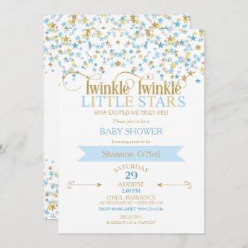 Twinkle Little Star Gold & Baby Blue Boy Twins Invitation