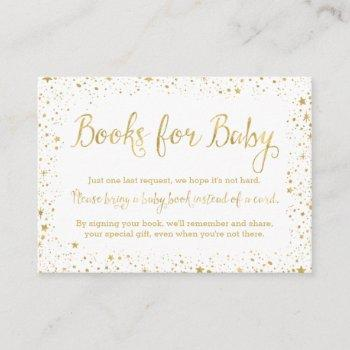 Twinkle Little Star Gold Baby Shower Book Request Enclosure Card