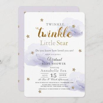 Twinkle Little Star Lavender Virtual Baby Shower Invitation