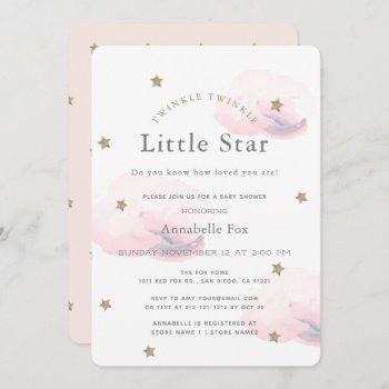 Twinkle Little Star Pink Baby Shower Invitation