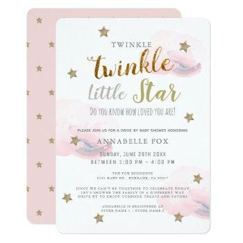 Twinkle Little Star Pink Girl Drive-by Baby Shower Invitation