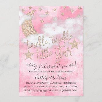 Twinkle Little Star Pink Glitter Girl Baby Shower Invitation
