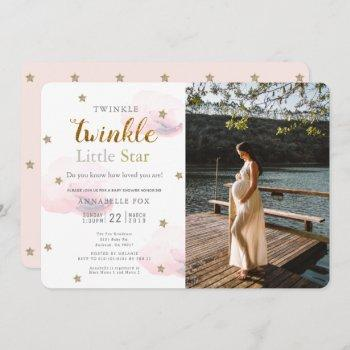 Twinkle Little Star Pink Photo Baby Shower Invitation