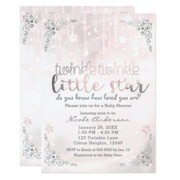Twinkle Little Star Pink & Silver Baby Shower Invitation