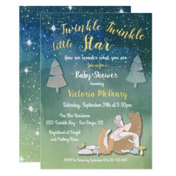 Twinkle Little Star Watercolor Animals Baby Shower Invitation